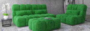 Прямой диван, кресло, пуф